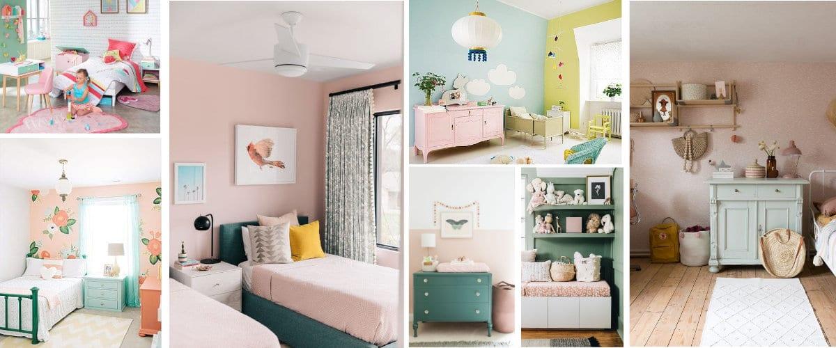 Dormitorios infantiles verdes y rosas