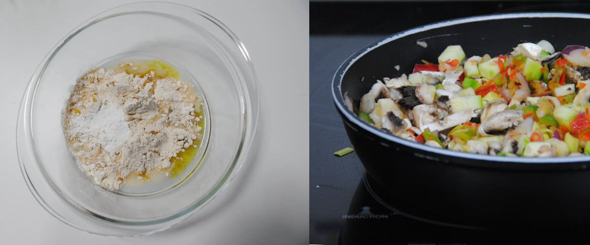 Empanada integral de calabacín y champiñones