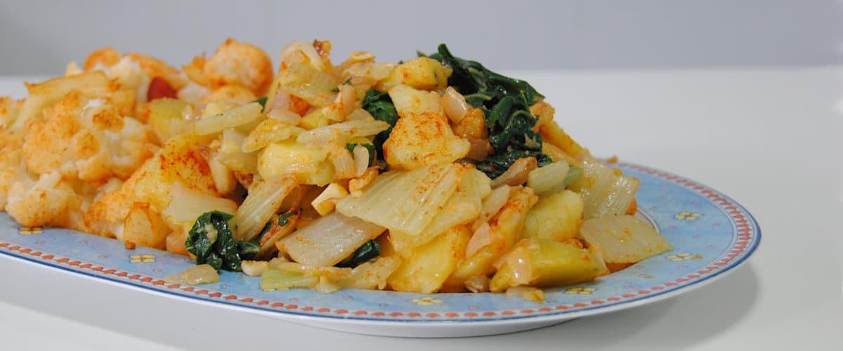 Salteado de coliflor y acelgas con patatas
