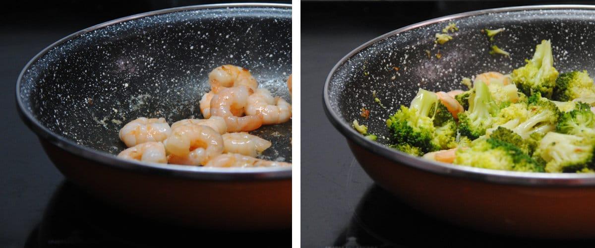 Brocoli y gambitas con salsa picante