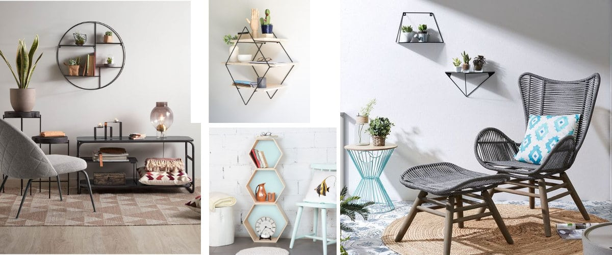 Estanterías geométricas de Kave Home y Really Nice Things