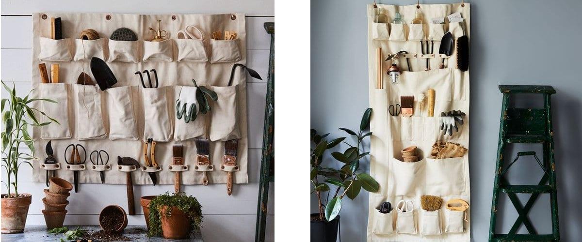 Organizadores de pared de tela para útiles de jardinería