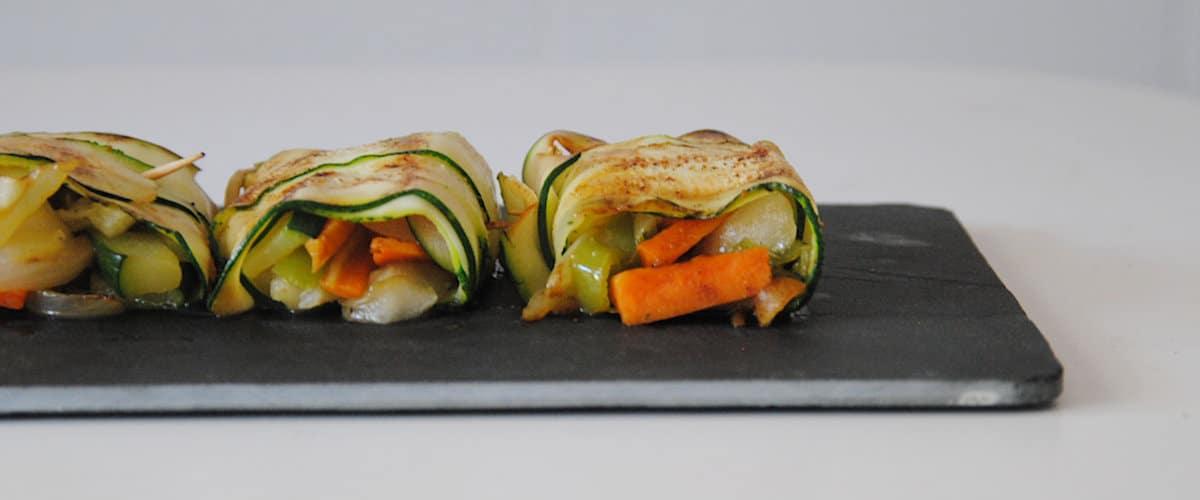 Rollitos de calabacín con verduras
