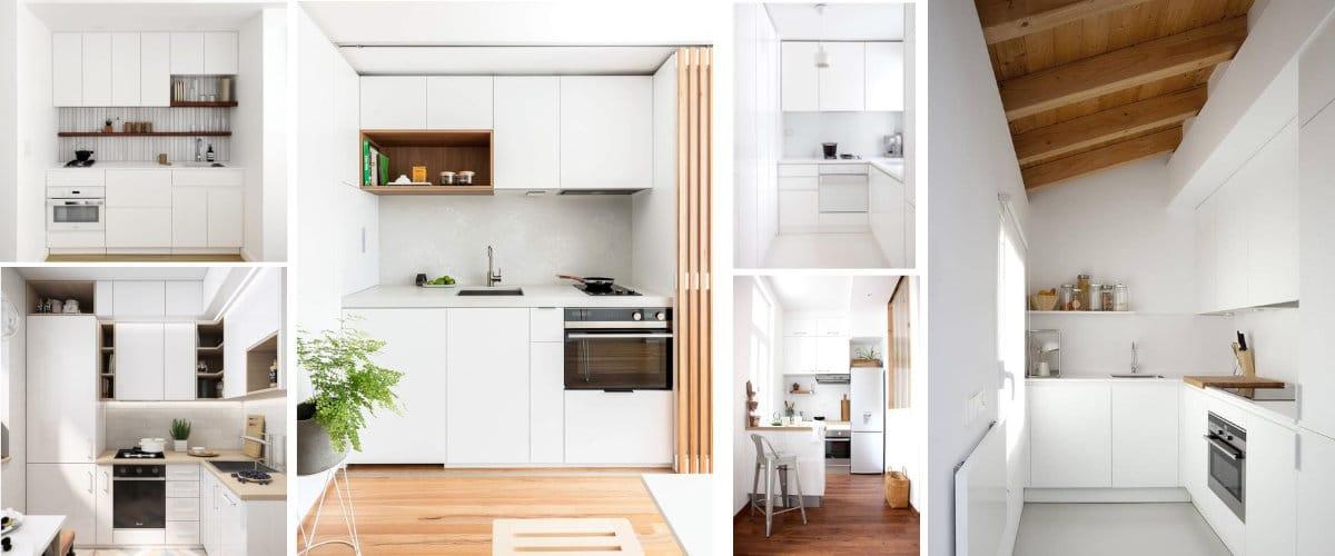Cocinas blancas con armarios minimalistas