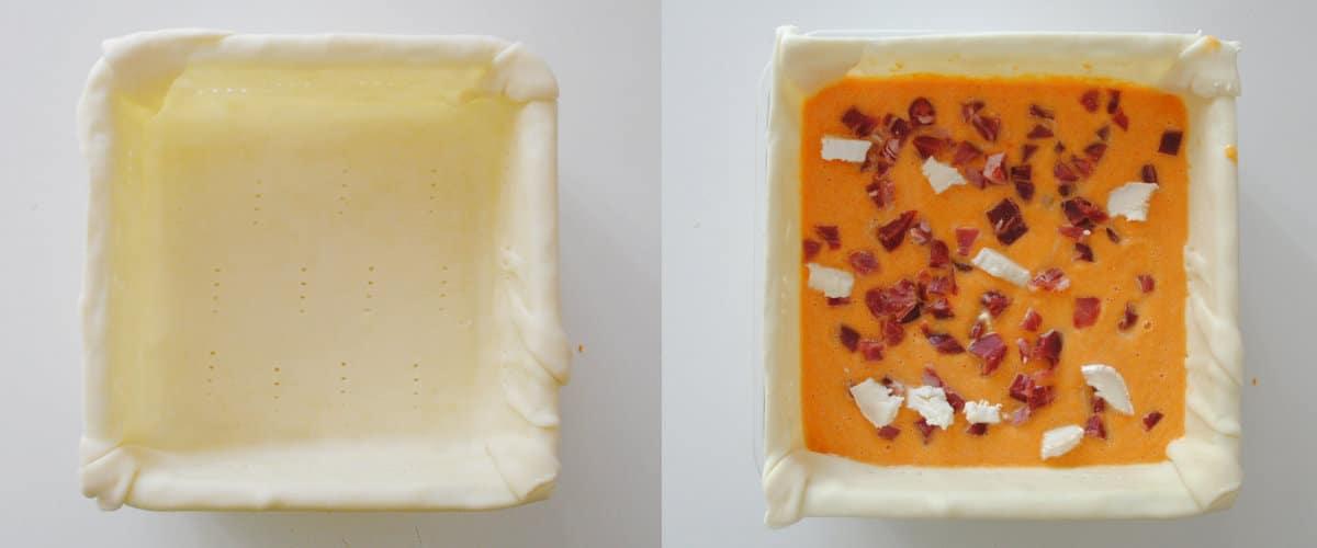 Tarta salada de zanahoria, jamón y queso de cabra