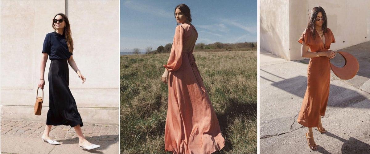 Faldas y vestidos de raso
