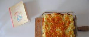 Lasaña con berenjena, champiñones y puré de patata gratinado