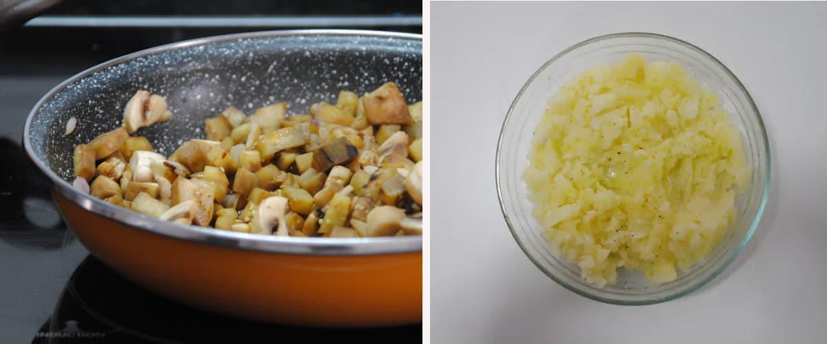Relleno y puré de patata