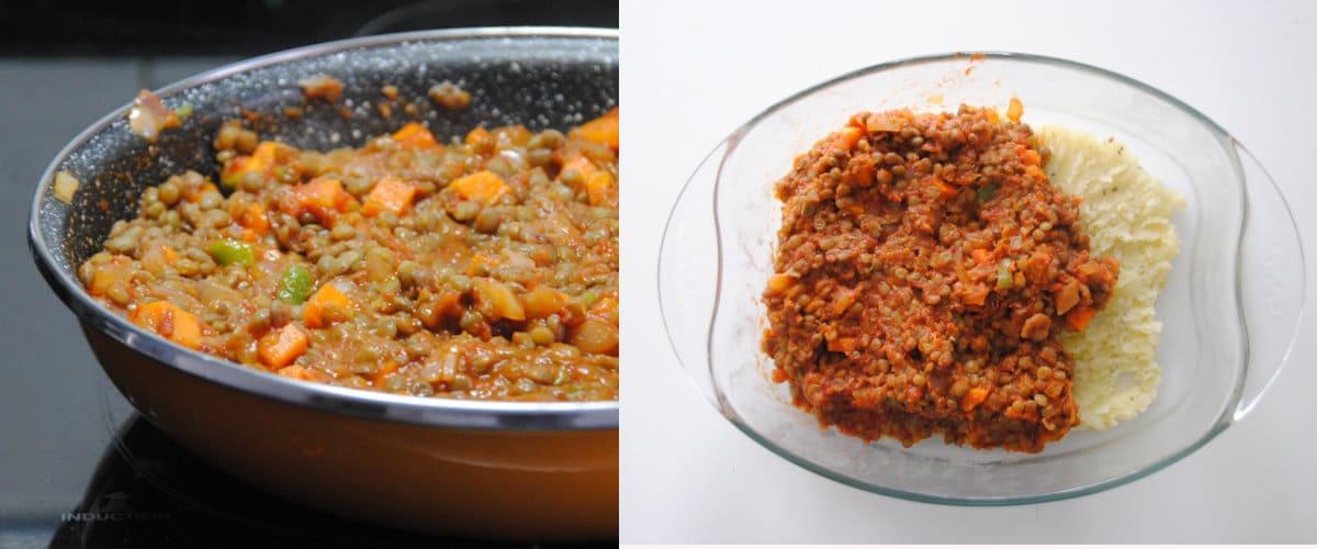 Boloñesa de lentejas con puré de patatas
