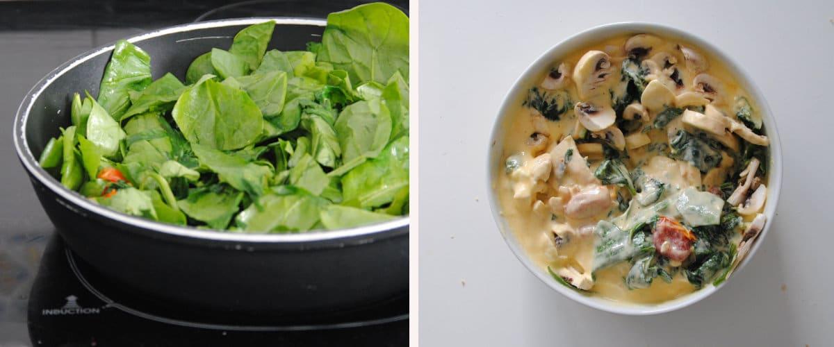 Tarta salada de champiñones, espinacas y tomates confitados