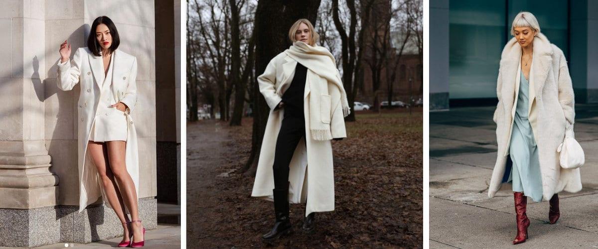 Estilismos de invierno con abrigo blanco