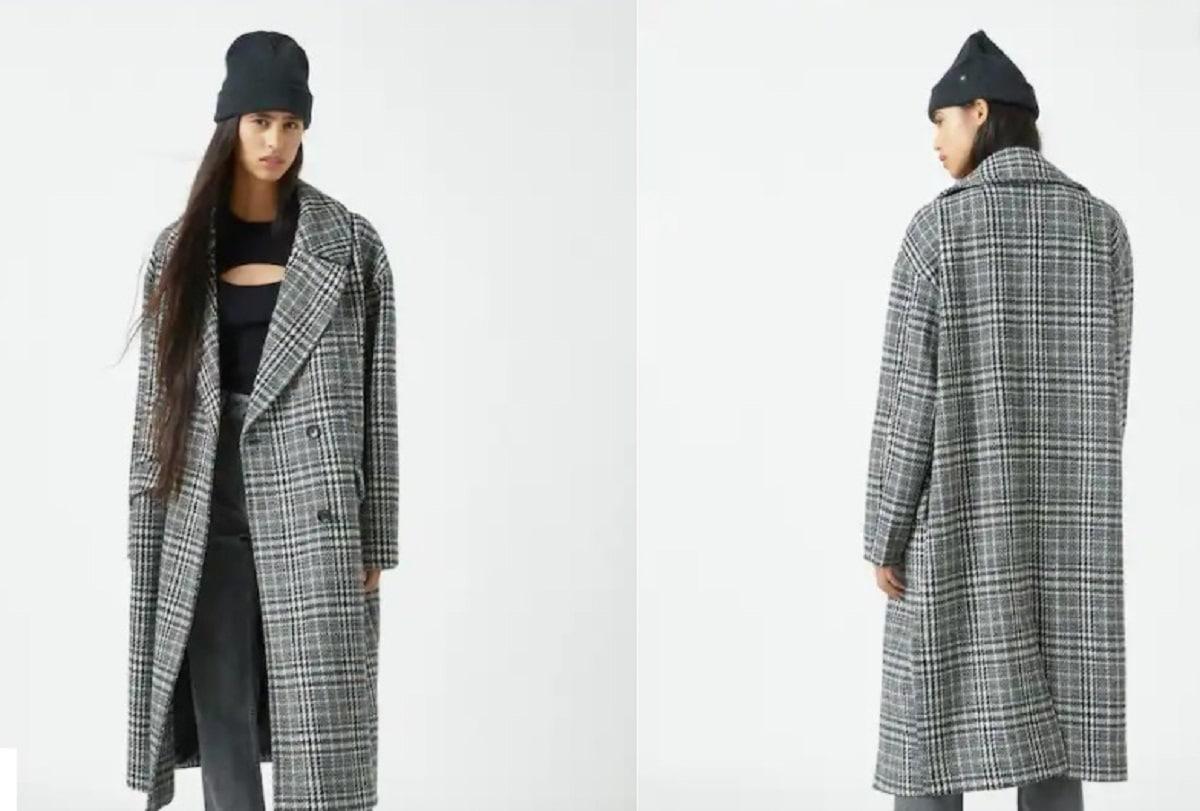 abrigo largo de cuadros