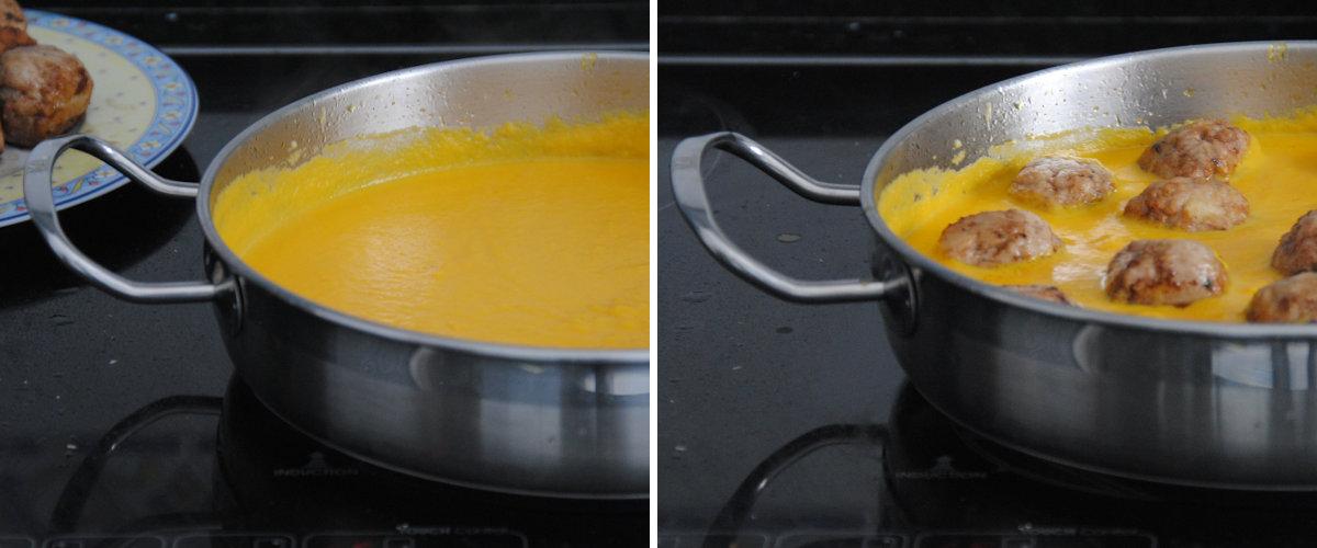 Albóndigas en salsa de zanahoria y manzana