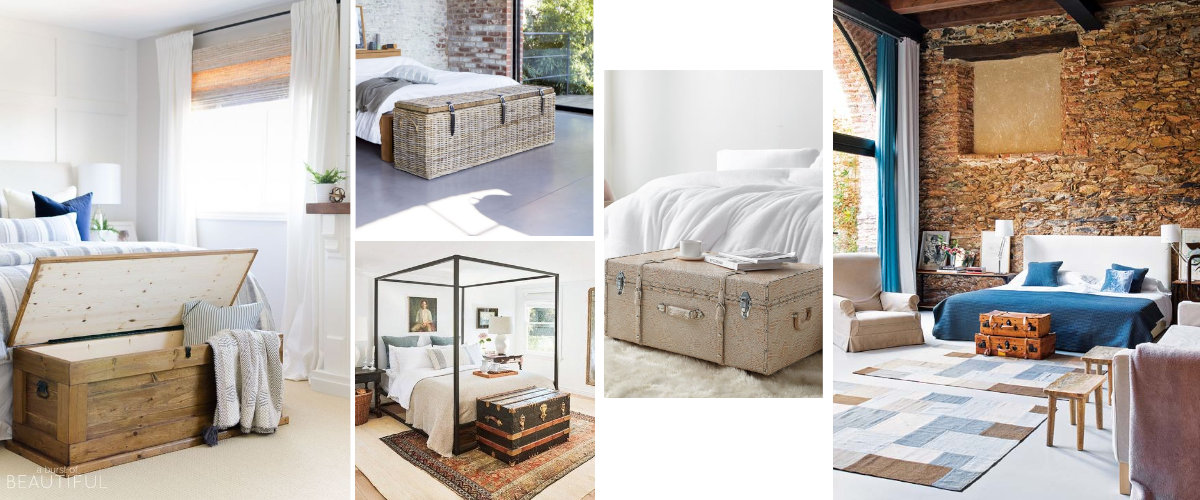 Baúles y maletas a pie de cama