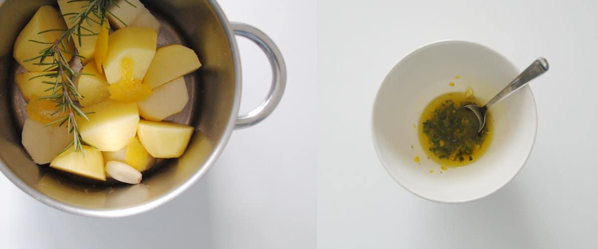 Puré de patata con aceite aromatizado