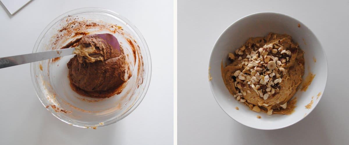 masas de chocolate y vainilla