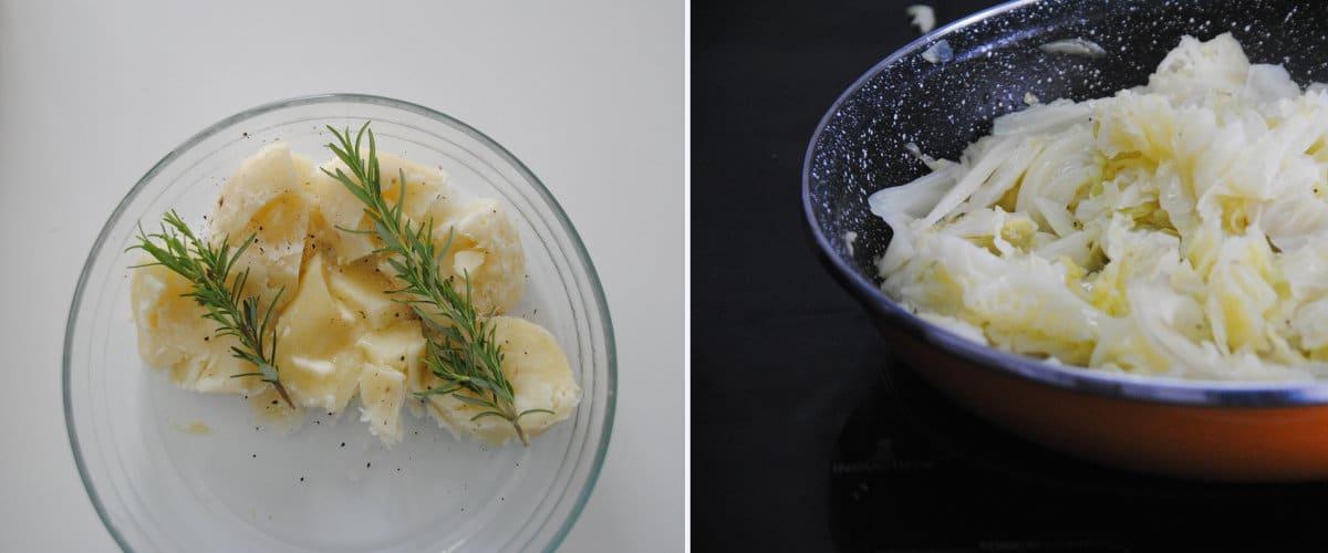 Patatas asadas con repollo al ajoarriero