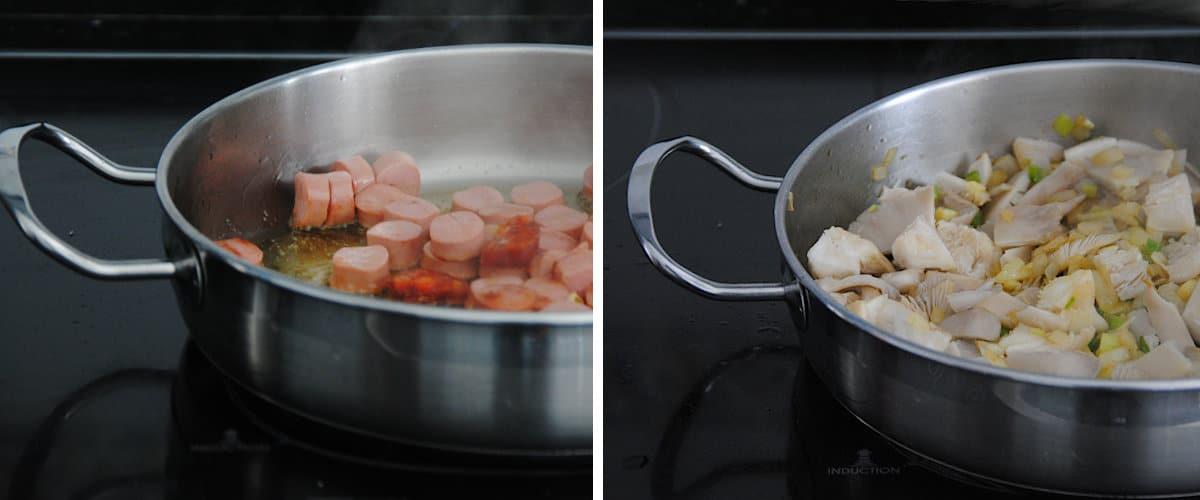Preparación del arroz con setas y salchichas