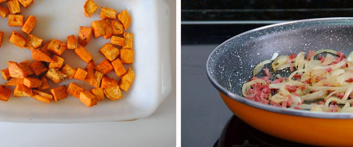 Boniato asado con guisantes y jamón