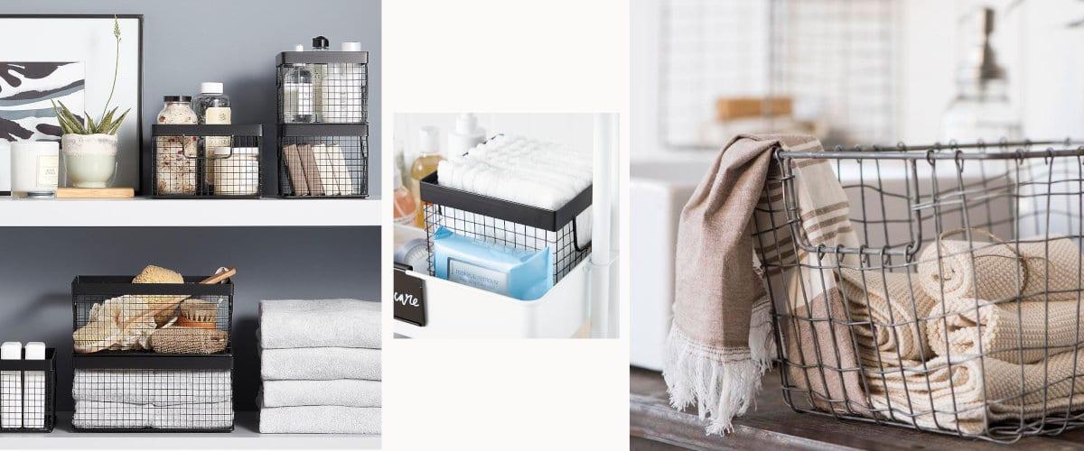 Cestas metálicas para organizar toallas y trapos