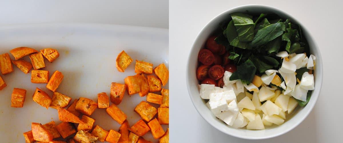 Ensalada templada de boniato y pollo con espinacas
