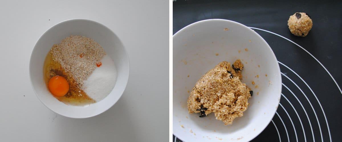 Masa de galletas de avena, canela y chocolate