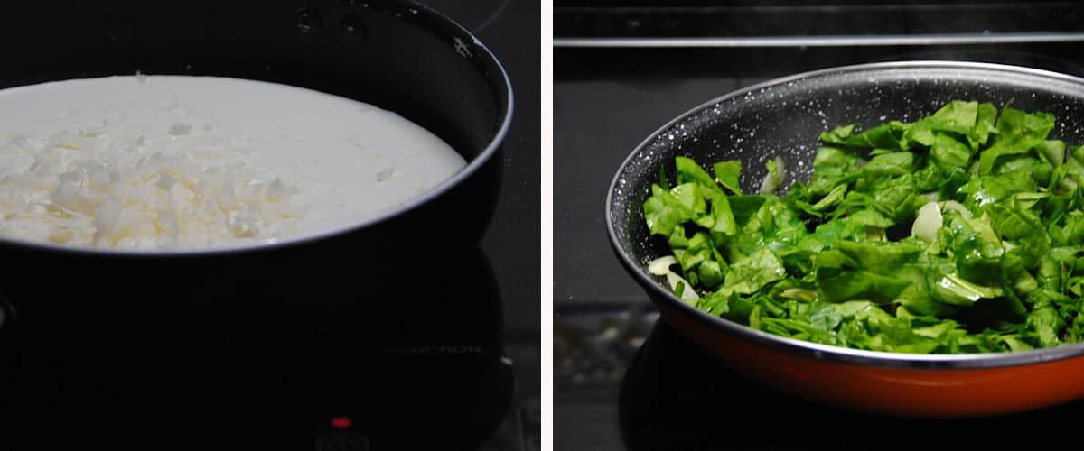 Macarrones con salsa de queso y espinacas