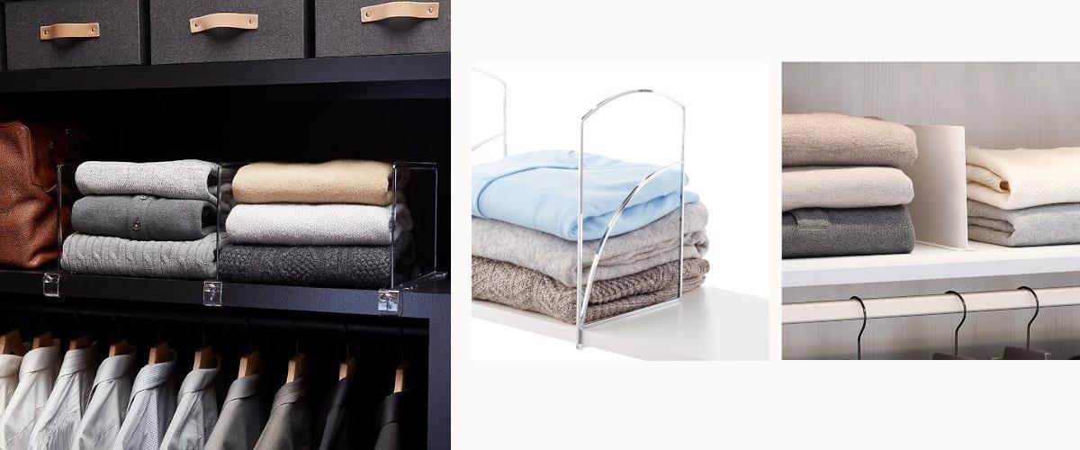 Separadores para las estanterías del armario