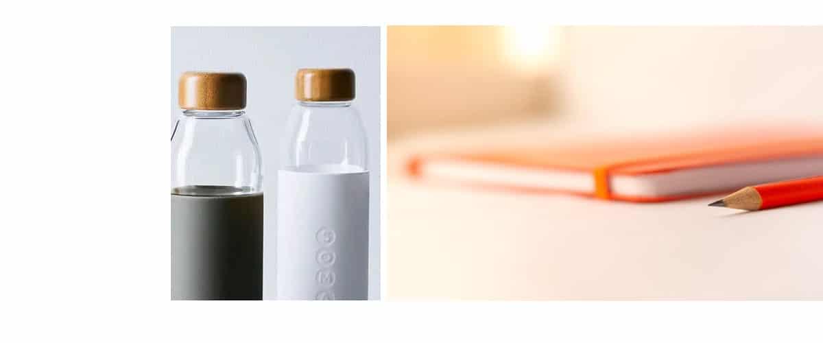 Botellas y cuadernos
