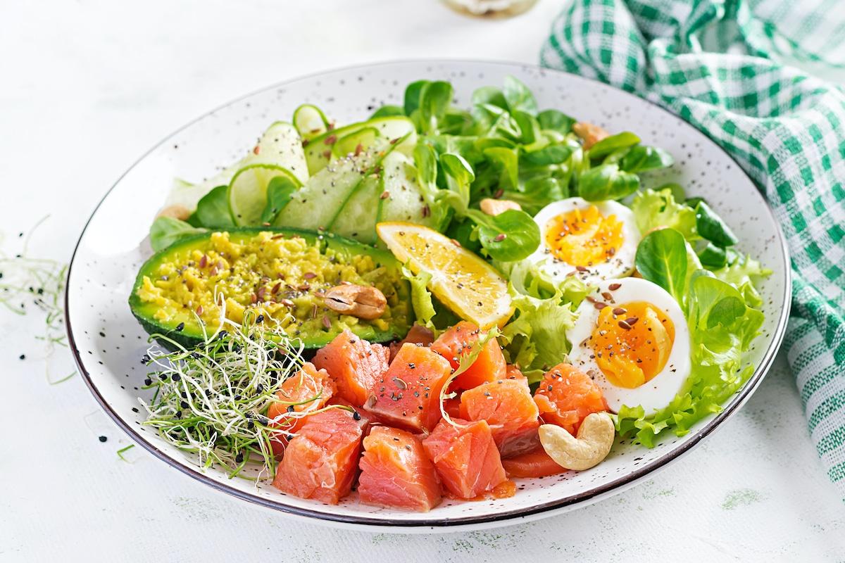 Plato de comida de dieta keto.