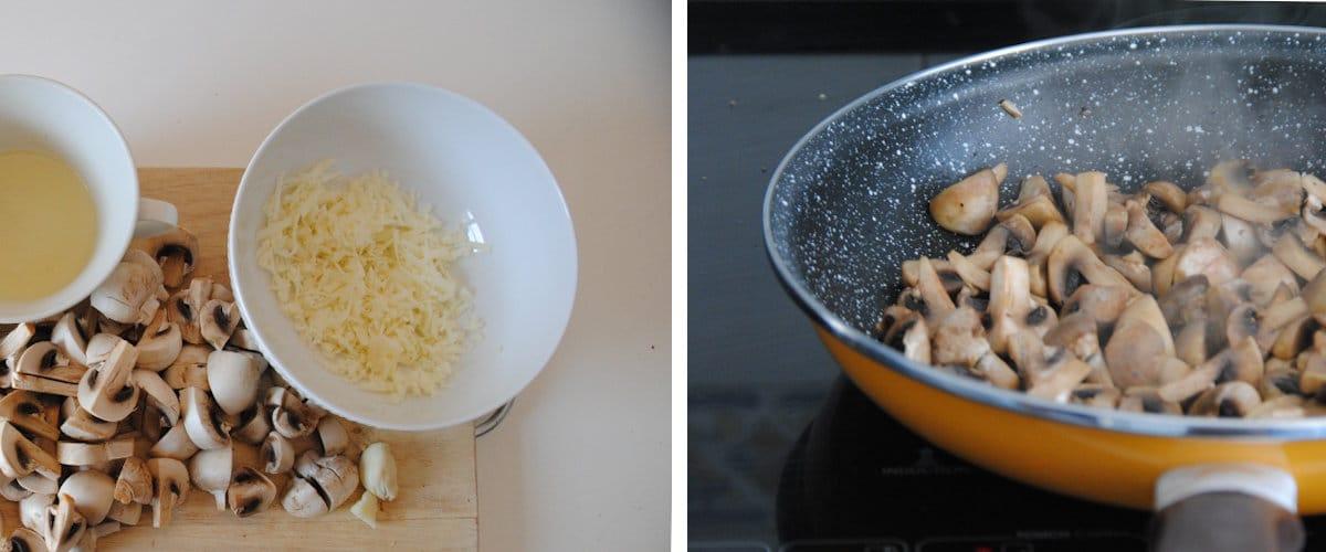 Macarrones con ajo y champiñones al limón