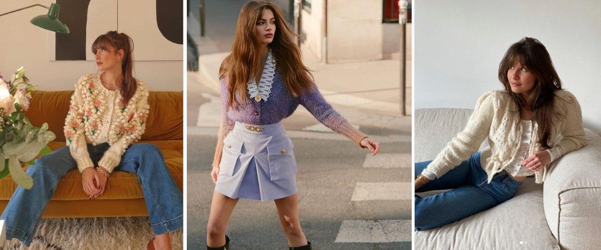 Estilismos de moda con rebecas de punto de inspiración vintage