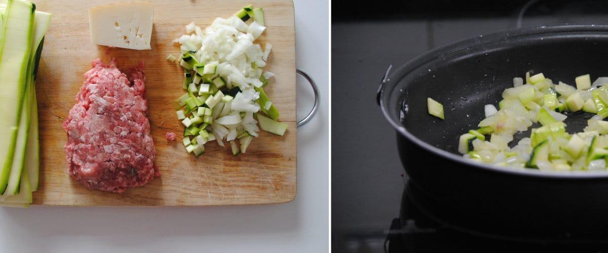Rollitos de calabacín con carne picada y coliflor