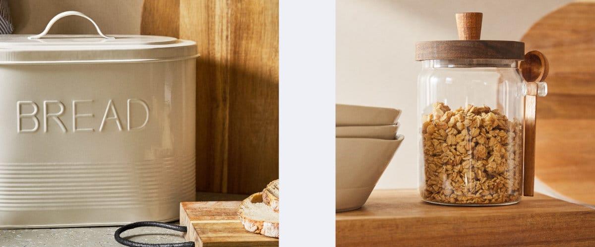 Panera y bote para cereales de Zara Home