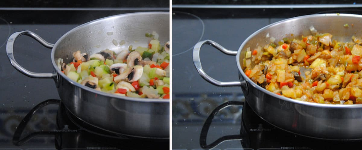Arroz caldoso con calabacín y champiñones