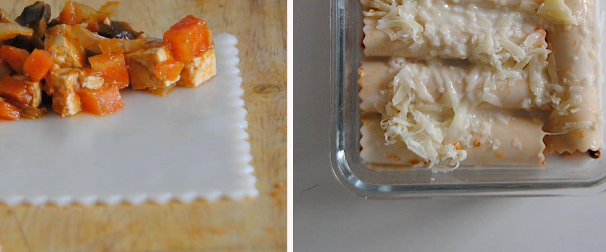 Canelones gratinados de tofu y champiñones