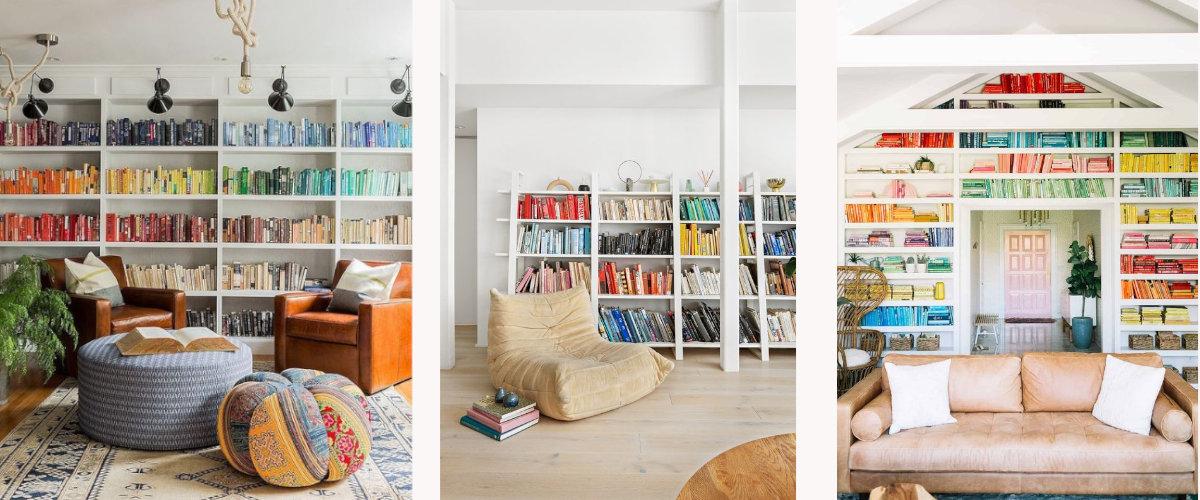 Colecciones de libros organizadas por colores