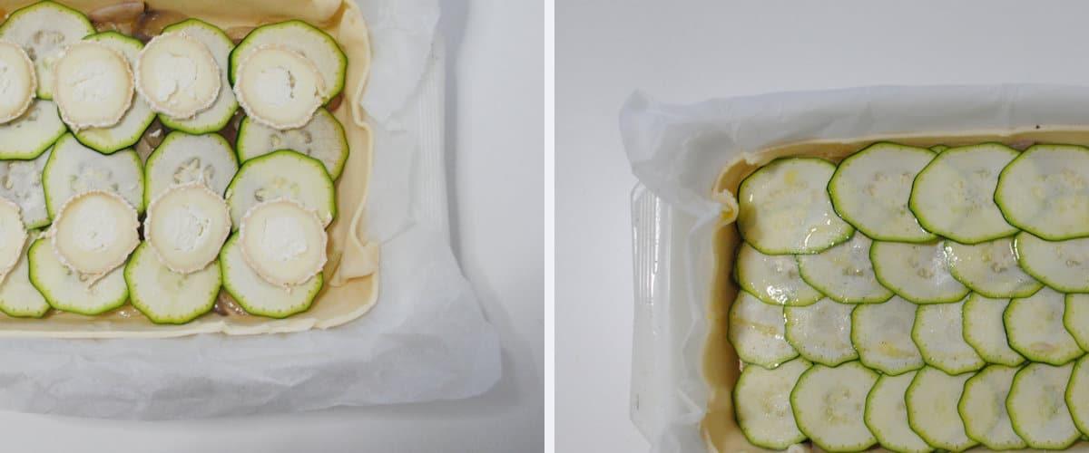 Tarta salada de calabacín y queso de cabra