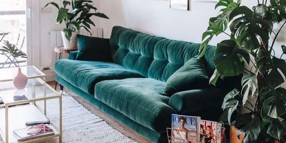 Sofá de terciopelo para tu casa