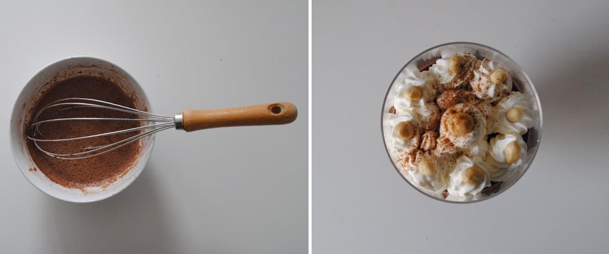 Copa de chocolate, nata y cacahuete