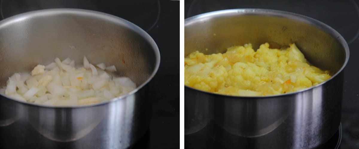 Crema de coliflor y curry