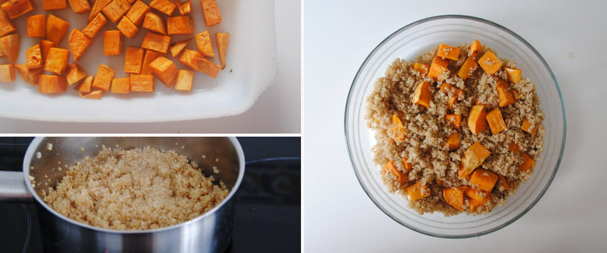 Ensalada de quinoa y boniato asado con frutas y yogur