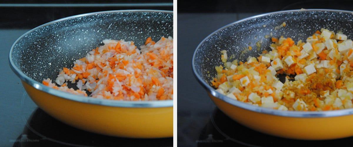 Arroz con tofu y salsa de piquillos