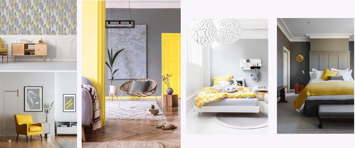Interiores decorados en gris y amarillo