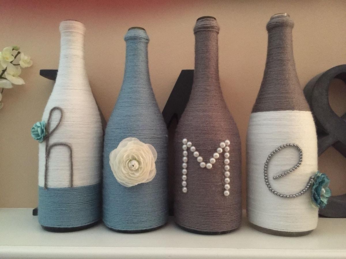 Botellas decoradas con hilo rústico