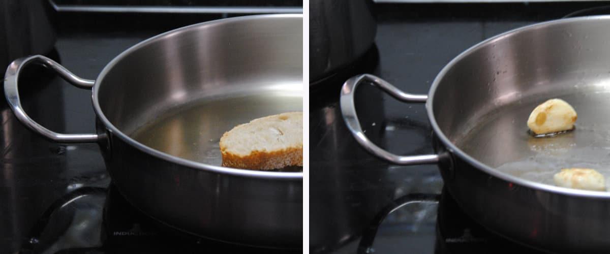 Freír el pan y dorar los dientes de ajo