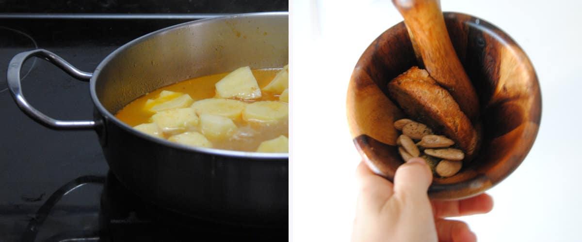 Cocer las patatas y preparar el majado