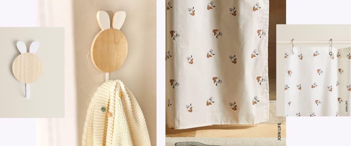Colgador y cortina de ducha infantil