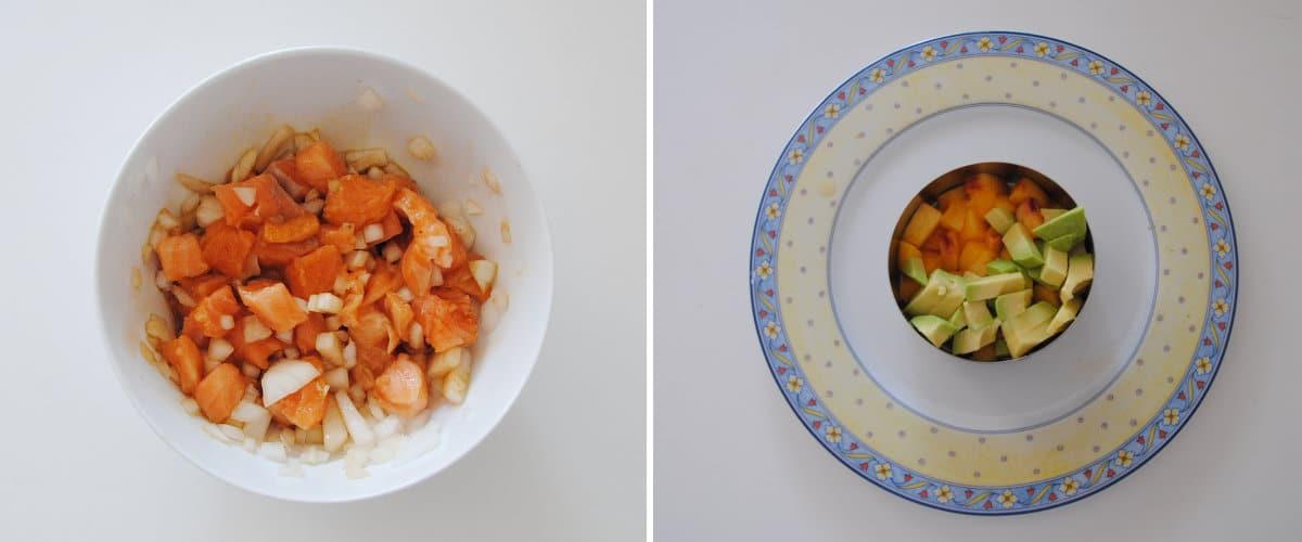 Ensalada de melocotón, aguacate y salmón