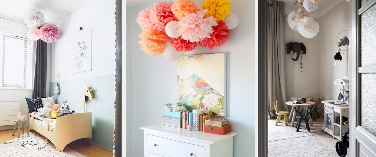 Flores de papel para decorar dormitorios infantiles